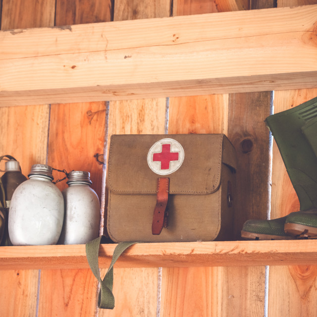 """Retro medic equipment on an old wooden shelfe"" stock image"