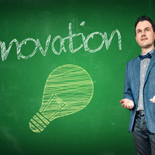 """Innovation presentation by a businessman"" stock image"