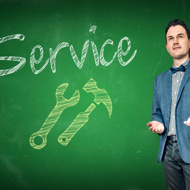 """Service support by a male teacher"" stock image"