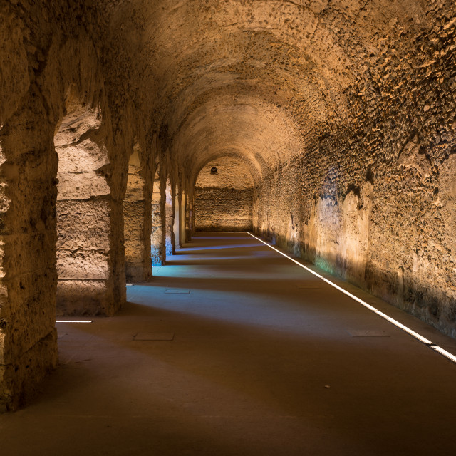 """old roman underground in the city of Aosta in italy"" stock image"