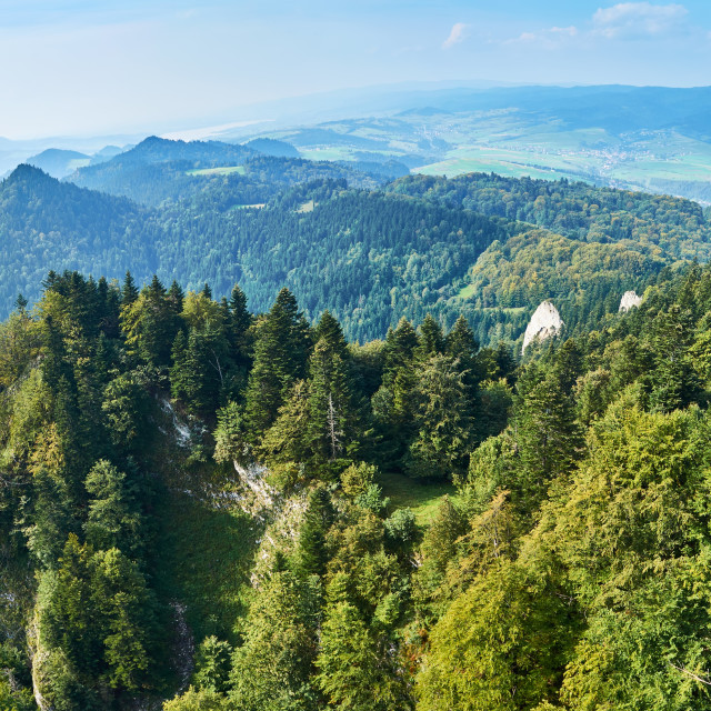 """""""Beautiful panoramic view of the Pieniny National Park, Poland in sunny september day from Trzy Korony - English: Three Crowns"""" stock image"""
