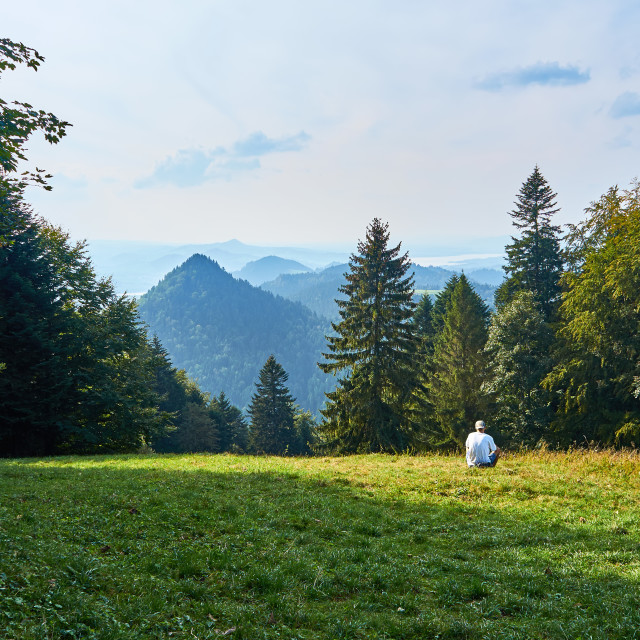 """""""Beautiful panoramic view of the Pieniny National Park, Poland in sunny september day"""" stock image"""