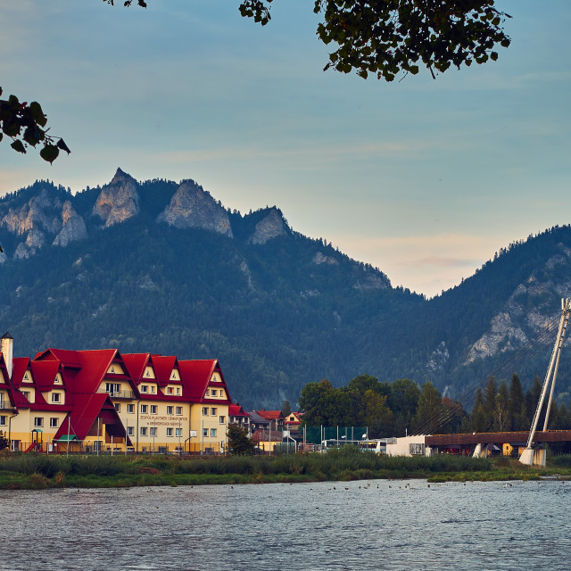 """""""Beautiful panoramic view of the Dunajec river and Pieniny National Park, Poland, in september day"""" stock image"""