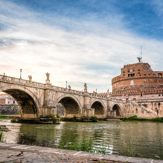 """Castel Sant Angelo and bridge in Rome"" stock image"