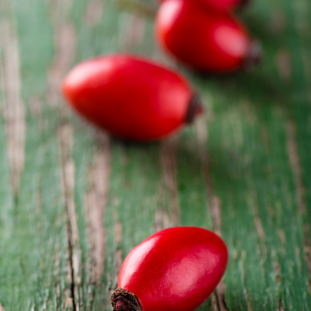 """Group of red hips placed on wooden board with green color"" stock image"