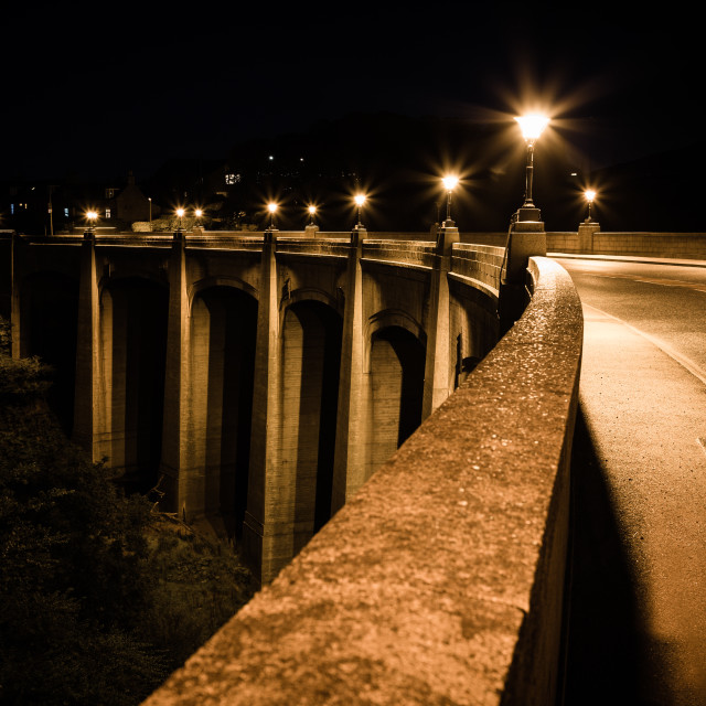 """Inverbervie Bridge at Night"" stock image"