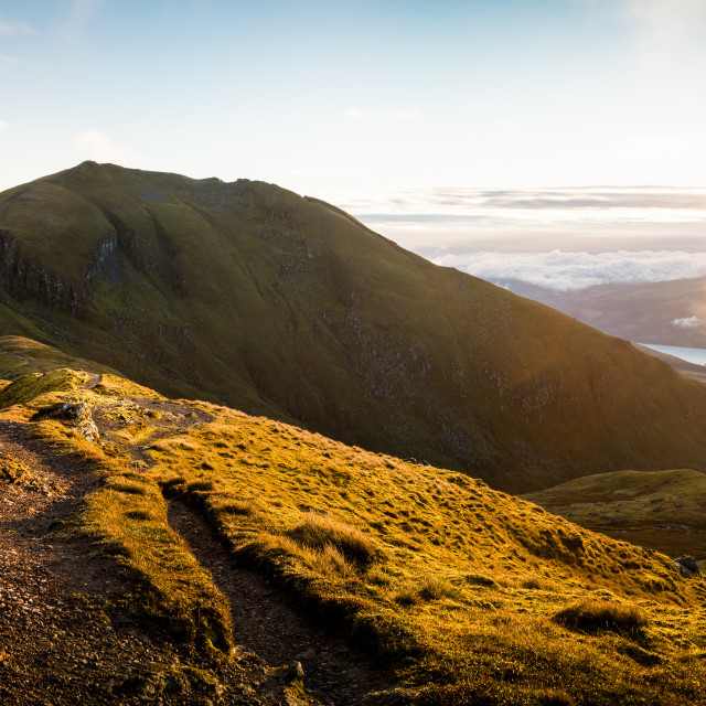 """Ben Lawers Sunrise Pano"" stock image"