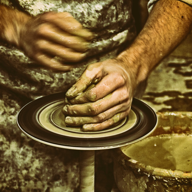 """Pottery, Sculptor, Potter.Retro"" stock image"