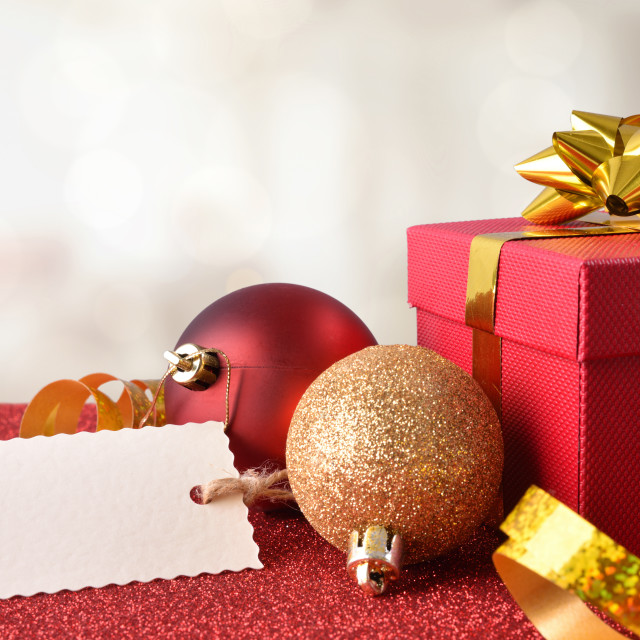 """""""Xmas decoration on red table and white background"""" stock image"""