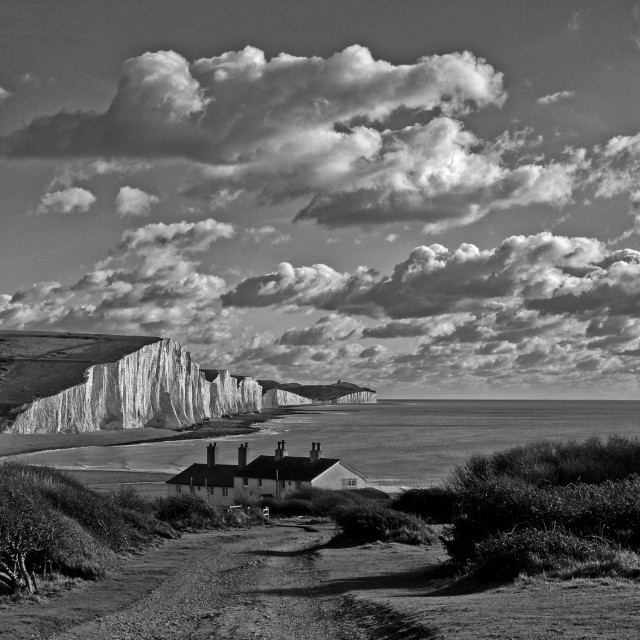 """Coastguard Cottages & Seven Sisters"" stock image"