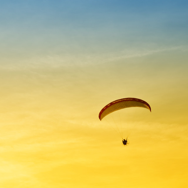 """Paraglider in flight"" stock image"