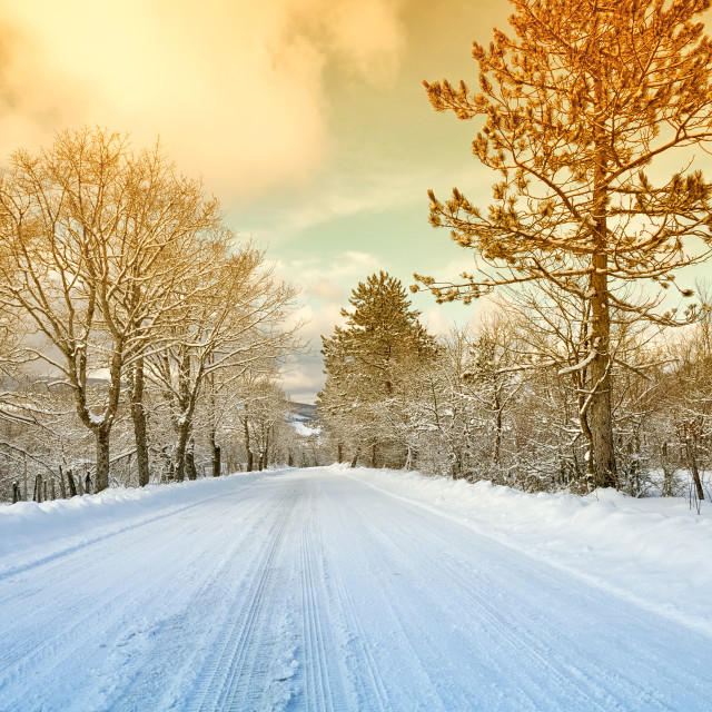 """Mountain road with snow"" stock image"