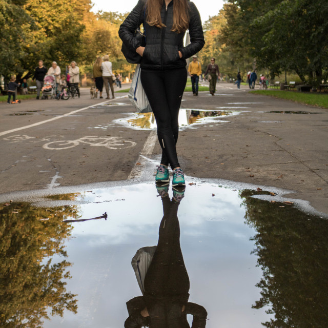 """""""Reflecting in Warsaw"""" stock image"""
