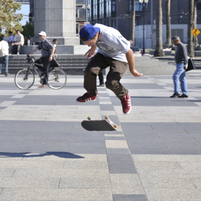 """Performing skate board tricks"" stock image"