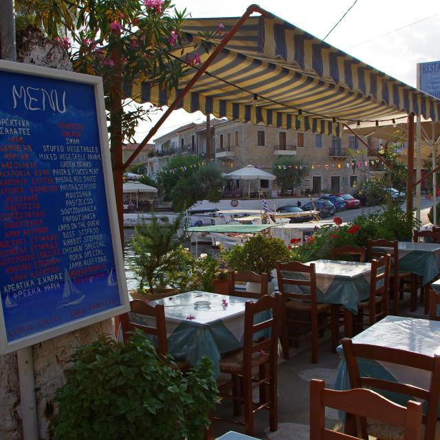 """Taverna, Agios Nikolaos, Mani Peninsular"" stock image"