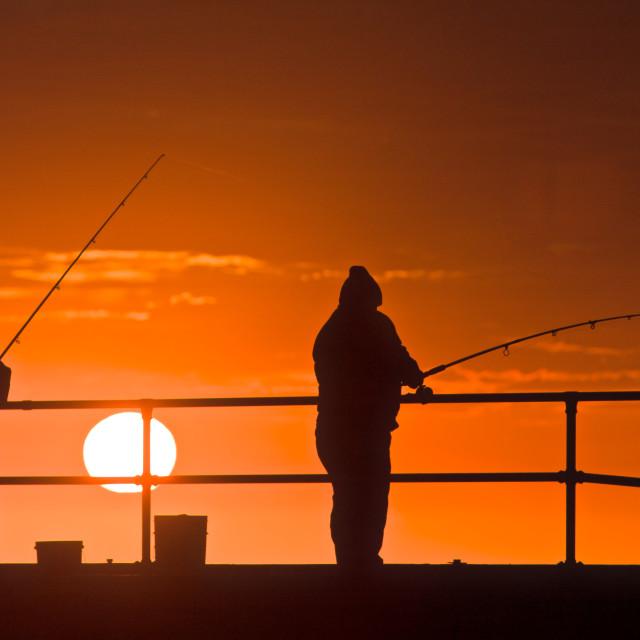 """Fishing, Evening"" stock image"