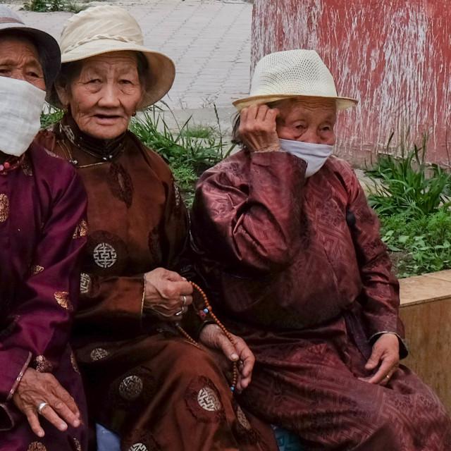 """Elderly women in Ulan Bataar 2"" stock image"