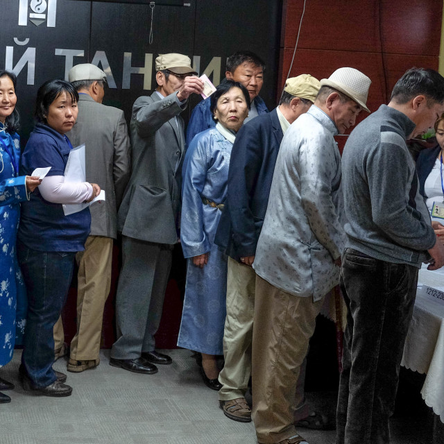 """""""Waiting to vote - Ulan Bataar 1"""" stock image"""
