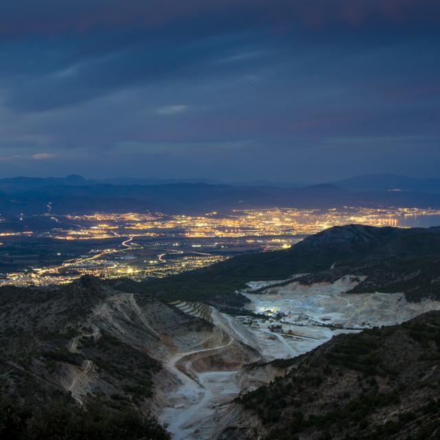 """""""View to Malaga at night"""" stock image"""