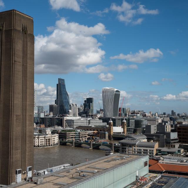"""Walkie Talkie & London Skyline"" stock image"