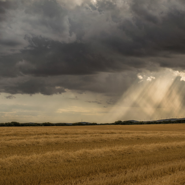 """""""Sunlight pouring through a stormy sky"""" stock image"""