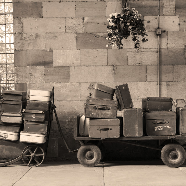 """Luggage carts at Pickering Station"" stock image"