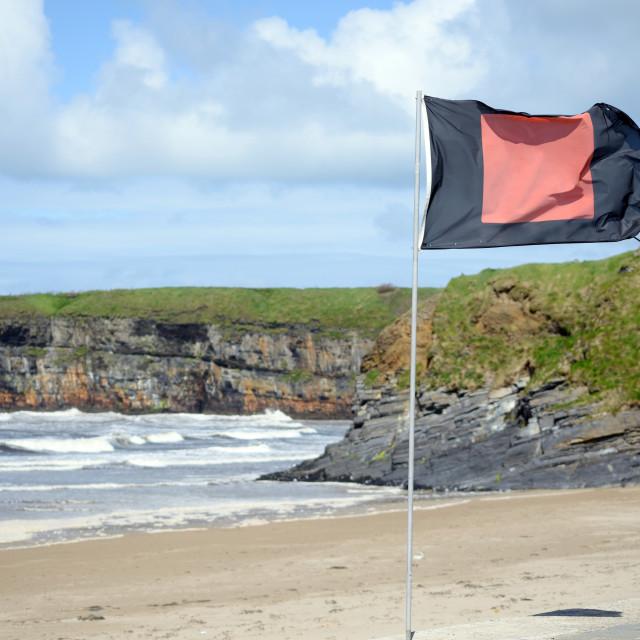 """quicksilver flag flying beside castle"" stock image"