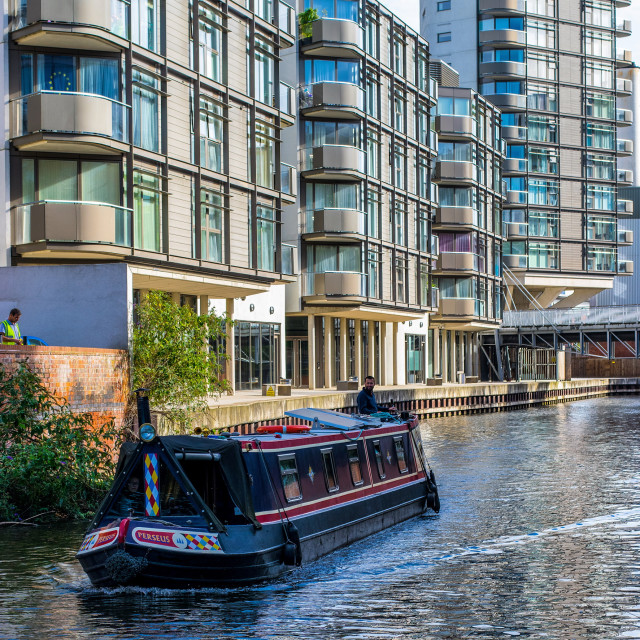 """Inland waterway & modern living"" stock image"