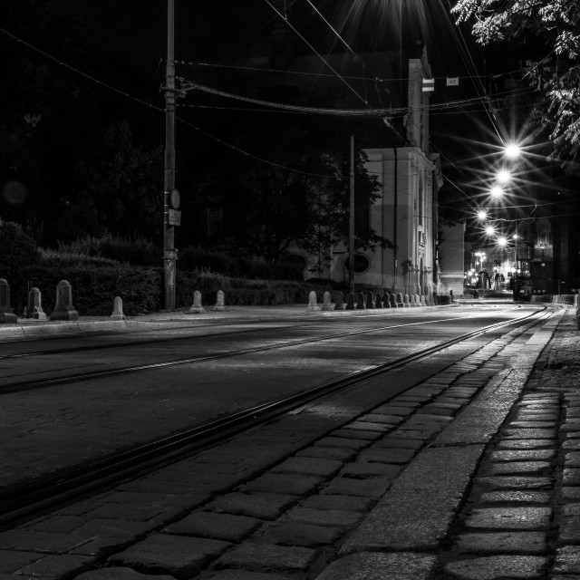 """Empty Street at Night"" stock image"