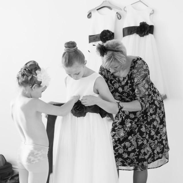 """Double bridesmaid preparation- high key"" stock image"