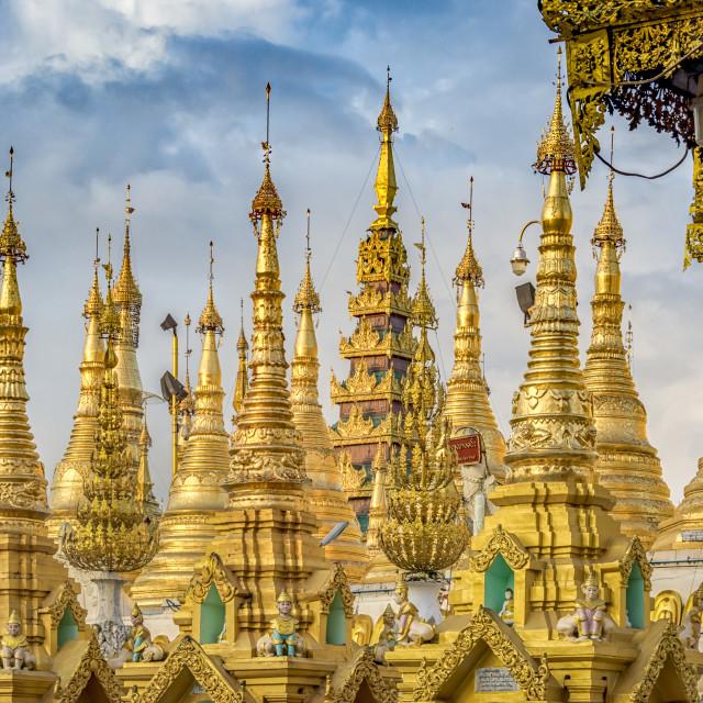 """Shwedagon pagoda, stupas"" stock image"