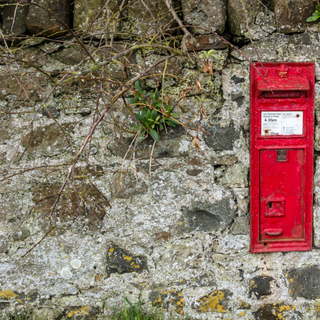 """""""Royal Mail Post Box in a Wall"""" stock image"""