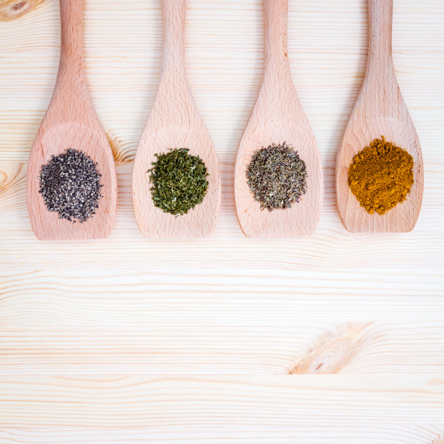 """Food Cooking ingredients. Dried Spices herb cinnamon sticks,bay..."" stock image"