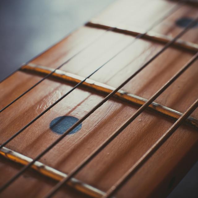 """Electric guitar neck detail, music symbol"" stock image"