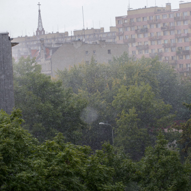 """""""Heavy rain against in the city"""" stock image"""