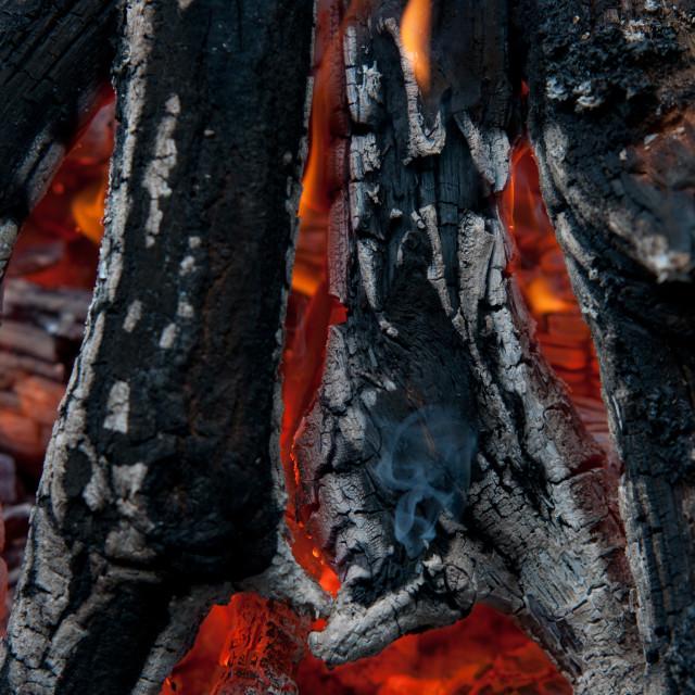 """burning billets in hot stove"" stock image"