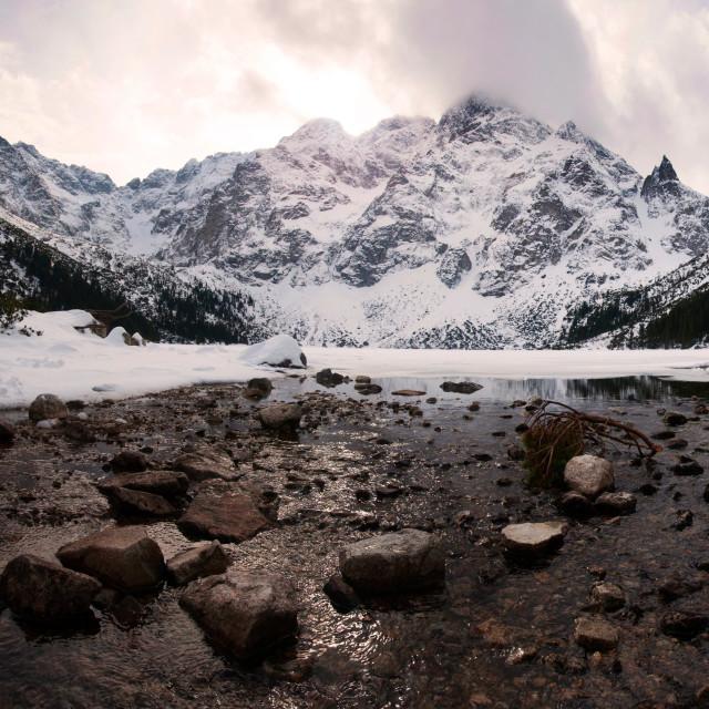 """Polish Tatra mountains Morskie Oko lake on susnet"" stock image"