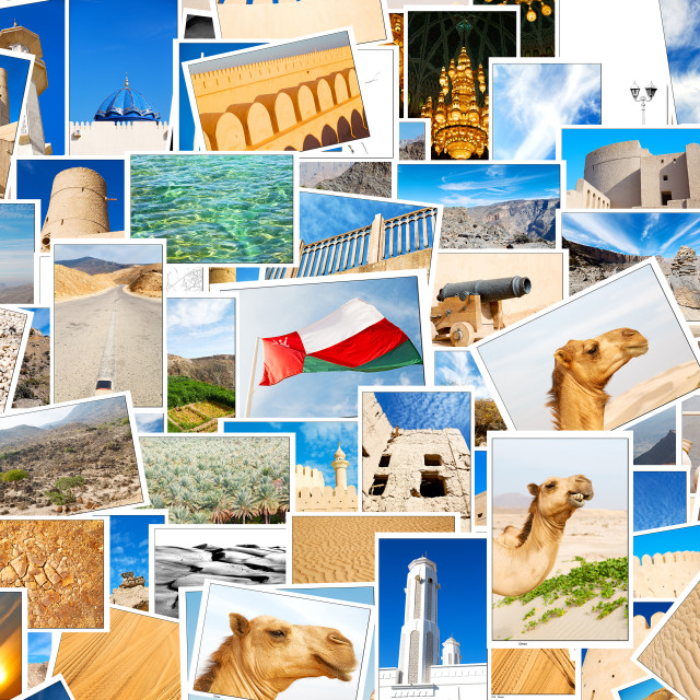 """""""oman in a desert patchwork"""" stock image"""