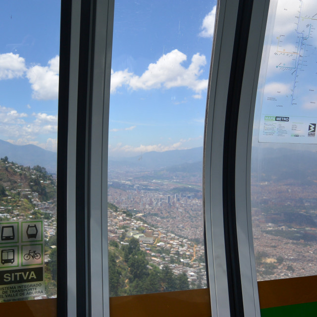 """""""View of Medellin, Colombia through the cable cars"""" stock image"""