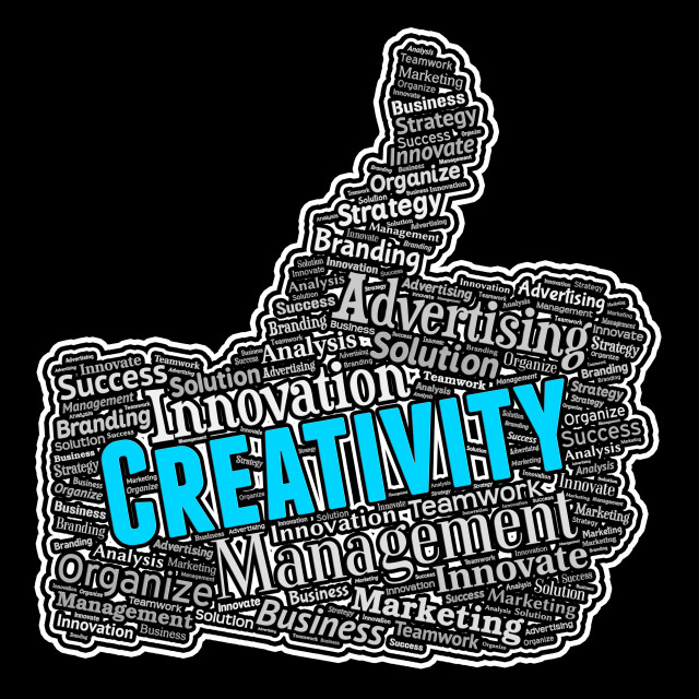 """""""Creativity Thumbs Up Means Innovative Creation And Ideas"""" stock image"""