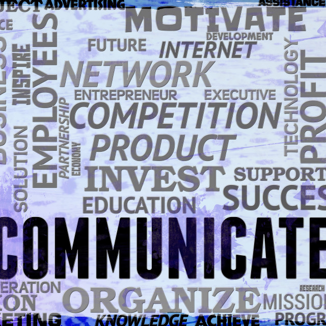 """Communicate Words Show Global Communications And Connections"" stock image"