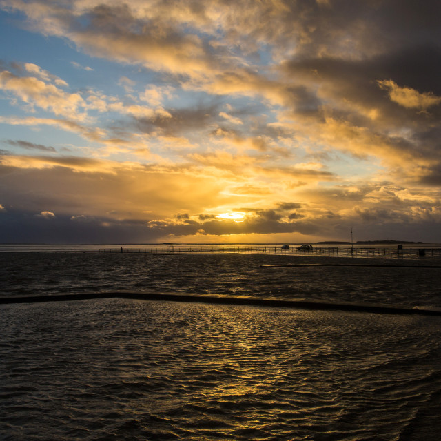 """Stormy West Kirby Marine Lake Golden Hour"" stock image"