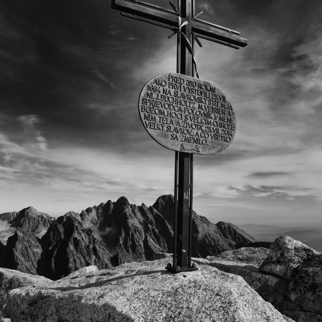 """Cross at the top of the peak"" stock image"