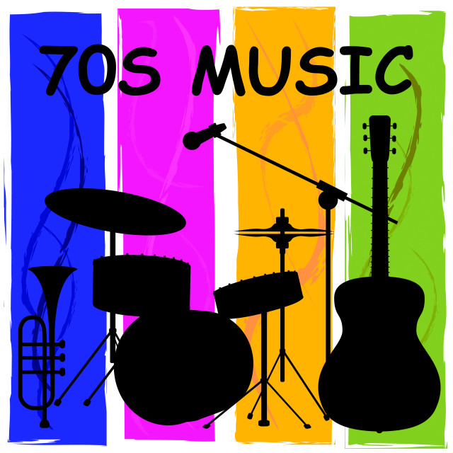 """""""Seventies Music Or 1970s Songs And Soundtracks"""" stock image"""