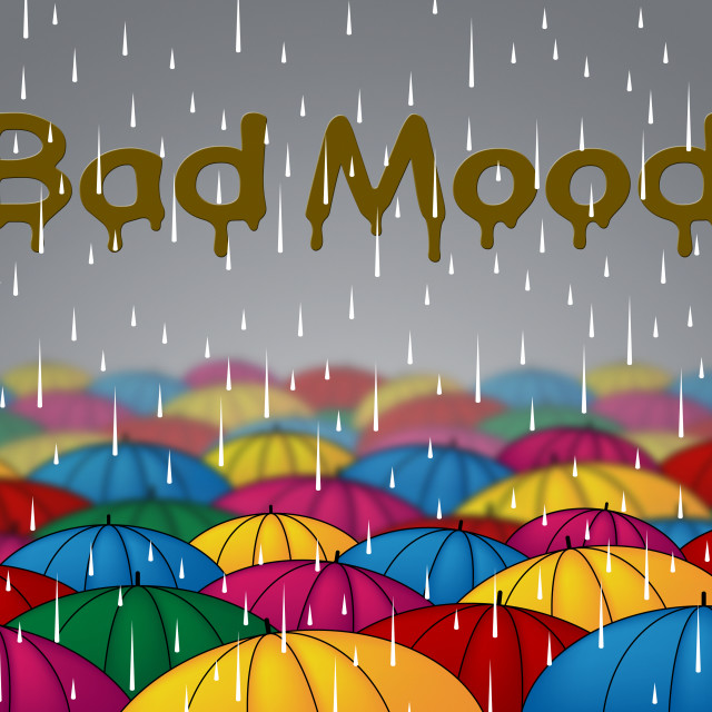 """Bad Mood Shows Glum Grumpy And Angry"" stock image"