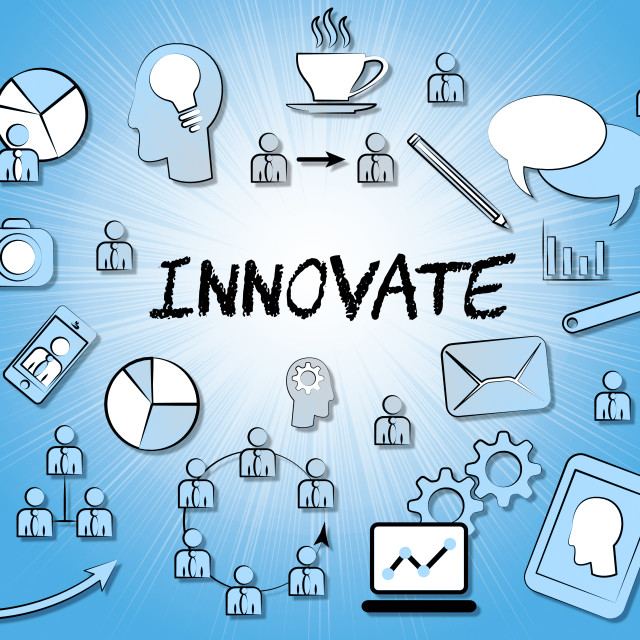 """""""Innovate Icons Means Innovating Creative And Ideas"""" stock image"""