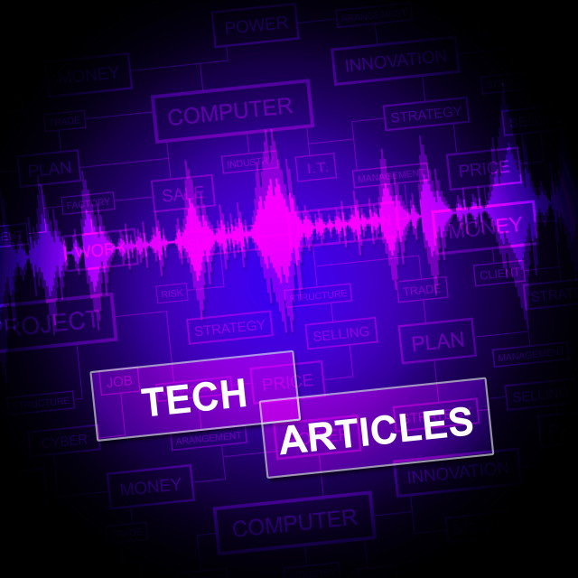 """""""Tech Articles Means Technology Publication And Journalism"""" stock image"""