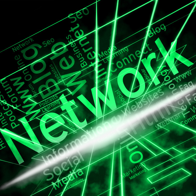 """""""Network Word Shows Global Communications And Connections"""" stock image"""