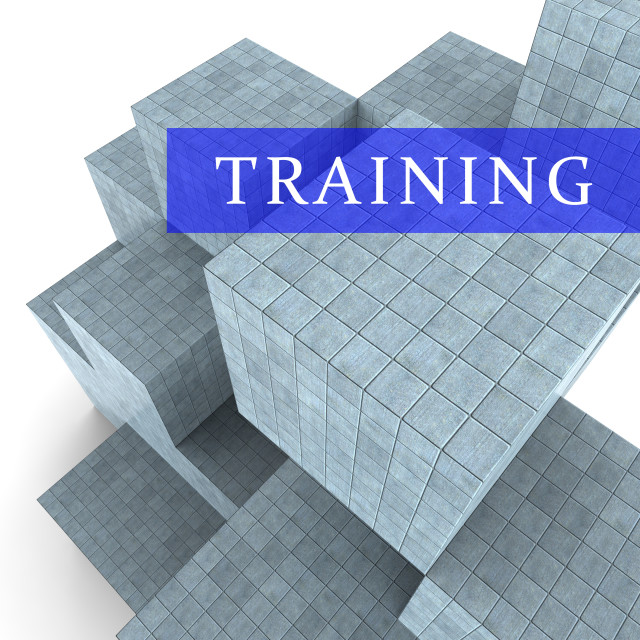 """""""Training Blocks Indicates Teach Or Learn 3d Rendering"""" stock image"""
