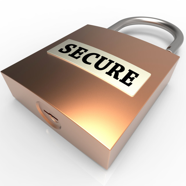 """""""Secure Padlock Shows Protect Privacy 3d Rendering"""" stock image"""